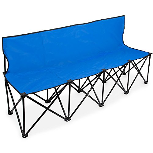 Crown Sporting Goods SCOA-702 6-Foot Portable Folding 4 Seat Bench with Back, Blue, N/A