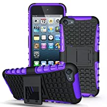 iPod Touch 6 Case, ANGELLA-M Built-in Kickstand Hybrid Armor Case Detachable 2in1 Shockproof Tough Rugged Dual-Layer Cover Case for iPod Touch 5 Touch 6 Purple