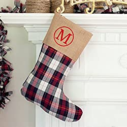Personalized Monogrammed Winter Plaid Stocking Winter Plaid Burlap Monogrammed Christmas Stocking | Farmhouse Christmas Stocking | Kids Stocking | Personalized Stocking | Family Stocking