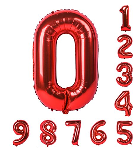 40 inch Red Number Balloons 0-9 (Zero-Nine) Mylar Helium Birthday Party Decorations of Arabic Numerals 0