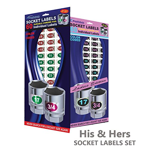 Steellabels His & Her's Edition - Eye Saver Chrome Socket Labels - quality 'color coded' decals for sockets sets and tools, easy read - Fits Snap On, Craftsman & all fine tools