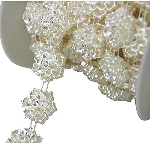 Ivory Chain (5 Yards 20mm Ivory Flower Pearl Rhinestone Chain Sew On Trims Wedding Dress Decoration LZ95)