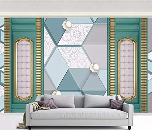 Abstract Damask Pearl - Wall Mural 3D Wallpaper Green Geometric Abstract Pearl Modern Wall Paper for Living Room Bedroom Tv Wall Decor