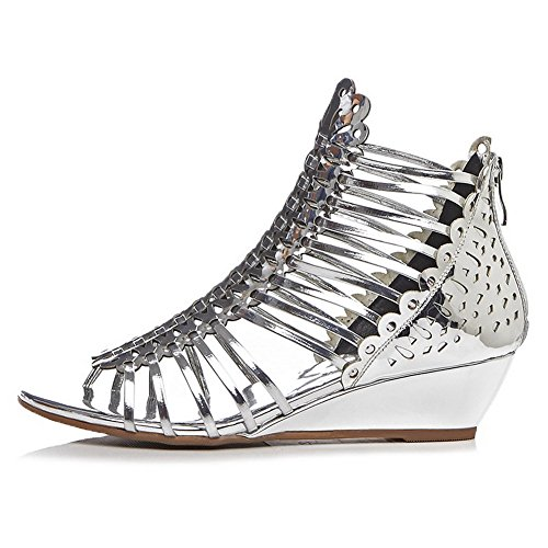 Toe Leather Open Zipper Low AllhqFashion Solid Sandals Silver Cow Womens heels CqFnU0wW8x