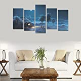 Hotel wall decoration Fantasy House moon night tree art painting personalized canvas print home bedroom decoration canvas oil painting mural design 5 Piece Canvas painting (No Frame)