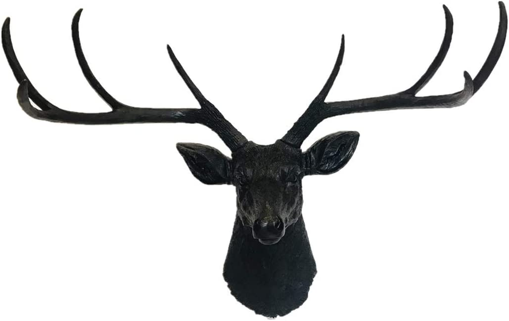 YJ Home Deer Head Wall Decor - Black Faux Taxidermy Animal Head Wall Mount Sculpture