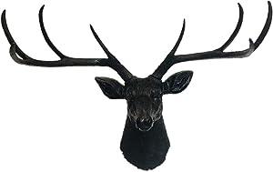 YJ Home Deer Head Wall Decor - Black Faux Taxidermy Animal Head Wall Mount Sculpture