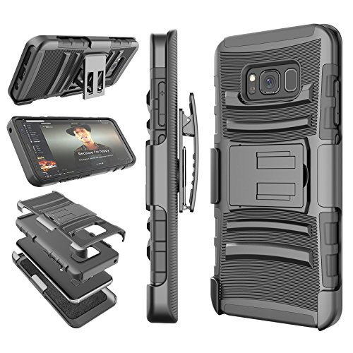 Galaxy S8 Case, Samsung S8 Holster Belt, Tekcoo [Hoplite] Shock Absorbing [Black] Locking Clip Defender Heavy Full Body Kickstand Carrying Armor Cases Cover for Samsung Galaxy S VIII (5.8 inch)