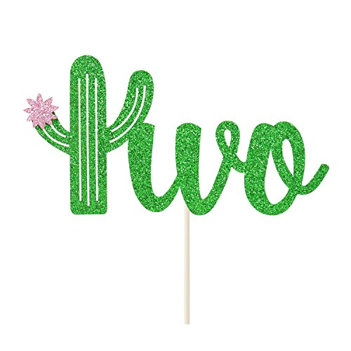 Cactus Two Cake Topper Mexican 2nd Birthday Succulent Theme Fiesta Cake Decor Double Sided