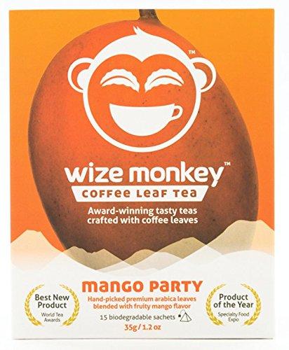 Wize Monkey Coffee Leaf Tea • Mango Party 15 teabags • Premium award-winning smooth taste • Clean energy, low caffeine, high antioxidants • Keto, zero carbs, vegan, paleo • 15+ cups