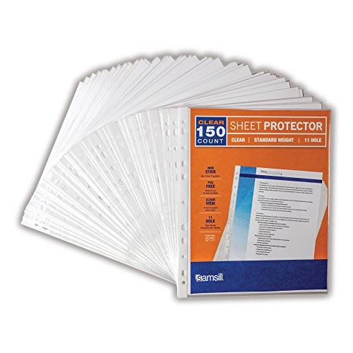 Samsill 11 Hole Sheet Protectors, Standard Weight Clear Plastic Page Protectors, Box of 150, Acid Free / Archival Safe, Top Load 8.5 x 11 Inches -