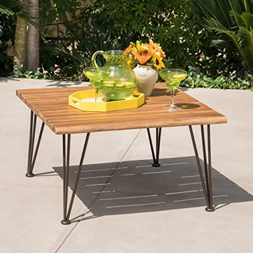 Zach Outdoor Industrial Teak Finish Acacia Wood Coffee Table with Rustic Metal Finish Iron Frame