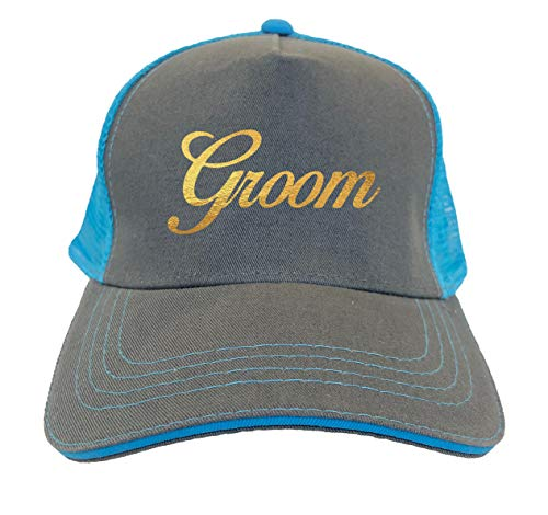 Tcombo Gold Foil Groom - Bridal Party Twill Soft Mesh Trucker Hat (Charcoal/Aqua Blue)