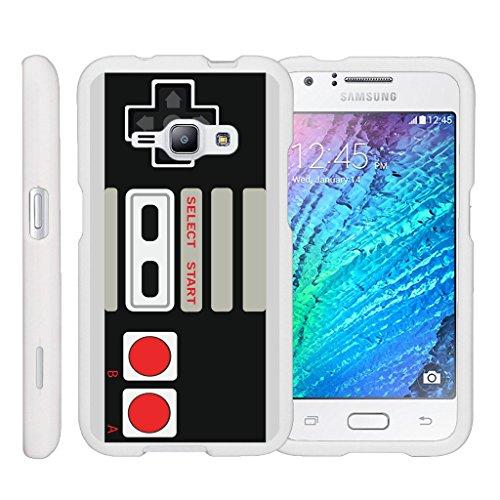 Cheap MINITURTLE Case Compatible w/ [Samsung Galaxy J1 J120 Case (2016), Amp 2 Case, Express 3 Case][Snap Shell] Hard Plastic Slim White Snap on case w/ Unique Designs Game Controller