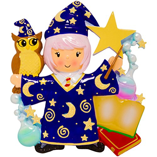 Personalized Wizard Girl Christmas Tree Ornament 2019 - Fiction Witchcraft Wizardry Costume Owl Magician Wand Star Book Hogwarts Harry Best Toddler Potter Cartoon Toy Gift Year - Free Customization -