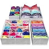 Styleys Drawer Organizer Storage Box Drawer Dividers Innerwear Organizer Wardrobe Organizer for Innerwear, Clothing, Shoes, Underwear, Bra, Socks, Tie, etc (Set of 4) (Grey)