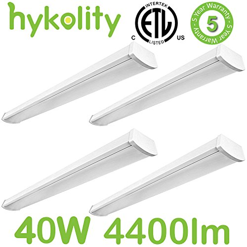 Hykolity 4FT LED Linear Wraparound Flushmount Ceiling Light 40W 4400 Lumens for Garage Work Shop office 5000K Daylight White 64w Fluorescent Equivalent - Pack of 4 - Wrap Around Fluorescent Light
