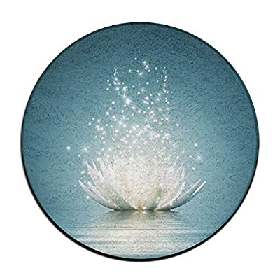 Jianyue Magic Lotus with Bright Reflections Zen Doormats,Round Area Floor Mats Entrance Entry Front Door Mat,Office Rugs,Indoor Outdoor Decor Decorative,Floor Mat,Non Slip Soft Absorbent Bathroom Mat