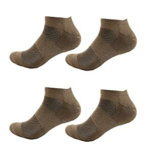 Men's Large Rayon from Bamboo Fiber Colored Sports Superior Wicking Athletic Ankle Socks - Brown - 4prs, Size 10-14