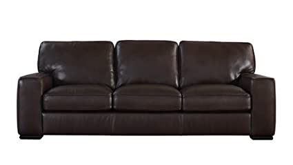 Natuzzi Editions Matera Collection Brown Leather Stationary Sofa