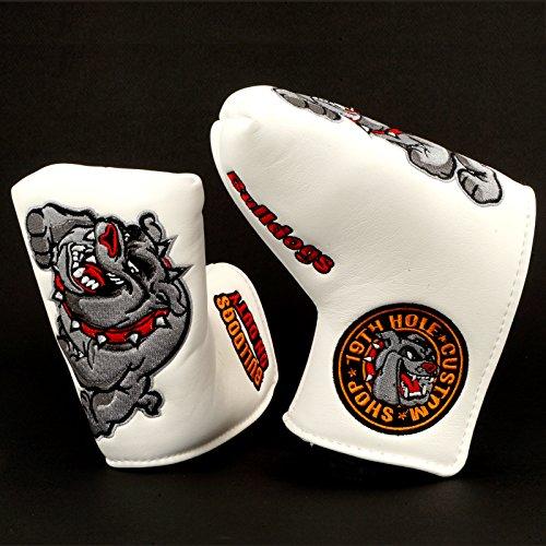 (19th Hole Custom Shop Bulldog Golf Headcover for Midsize Mallet Putter, White)