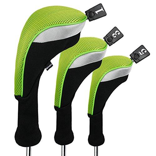 変なプレート花Andux ゴルフ ロングネック ウッドドライバー ヘッドカバー 交換可能な番号タグ付き 3個セット