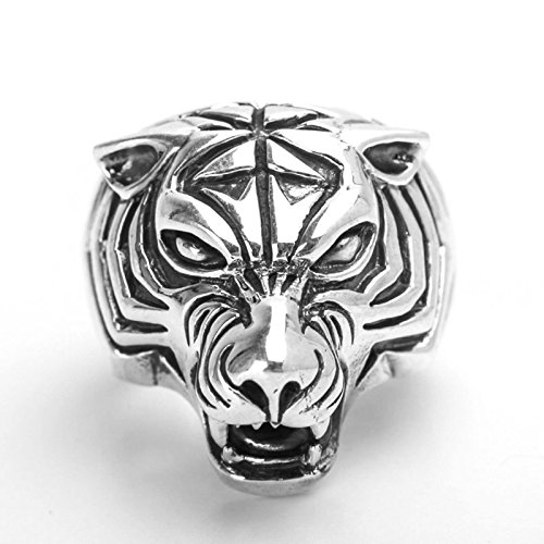 Bishilin Rings for Men Silver Plated Tiger Head Friendship Rings Silver Size 8.5