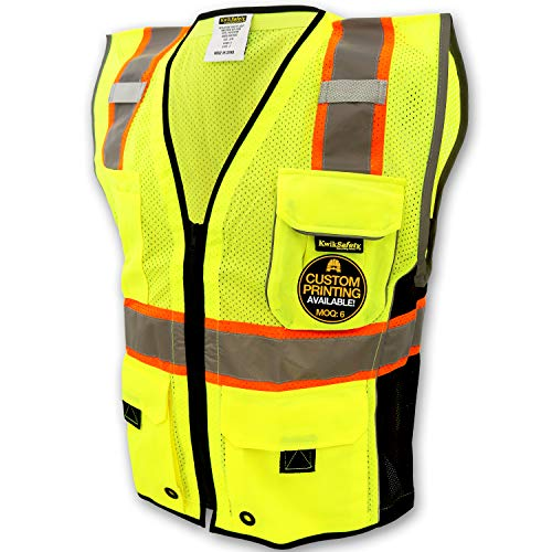 KwikSafety (Charlotte, NC) CLASSIC (10 Pockets) Class 2 ANSI High Visibility Reflective Safety Vest Heavy Duty Mesh with Zipper and HiVis for OSHA Construction Work HiViz Men Yellow Black Large