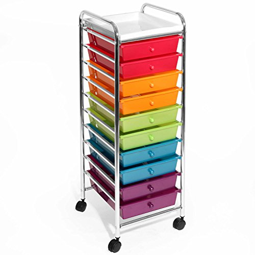Seville Classics 10-Drawer Storage Organizer Utility Cart, Pearlized Multicolor by Seville Classics*