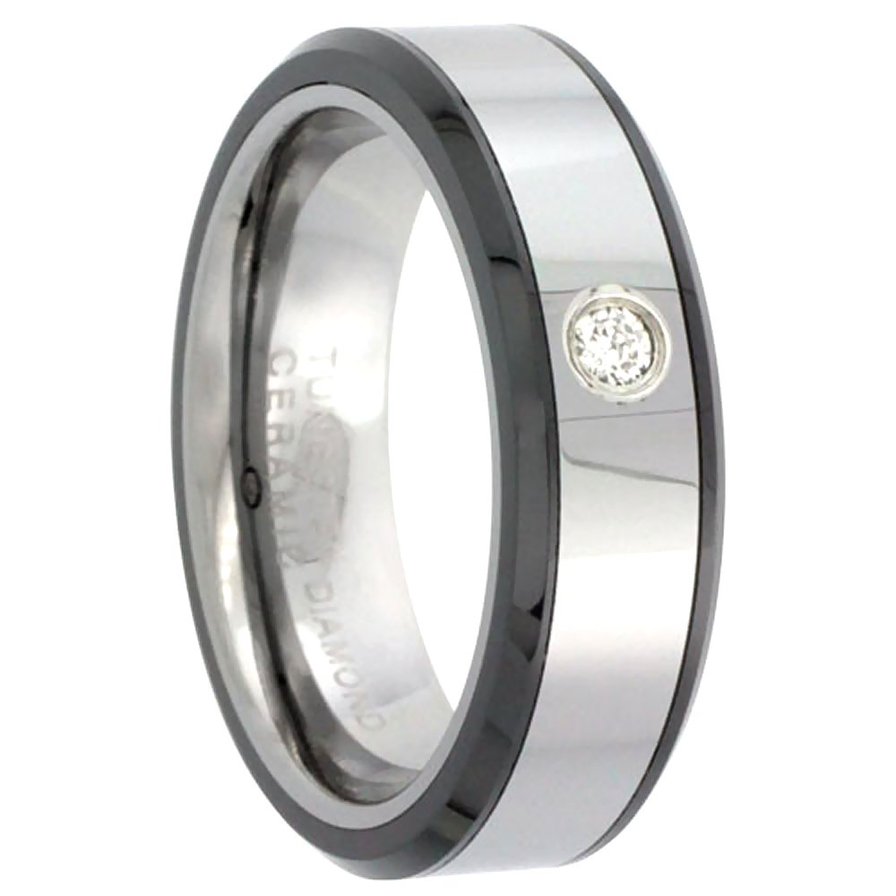 6mm Tungsten Diamond Wedding Ring for Him & Her Beveled Black Ceramic Inlay Edges Comfort fit, size 6.5