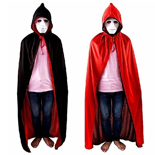Red and Black Double Layer Unisex Hooded Cloak Role Cape Play Costume with Cap for Halloween Party - Red Velvet Hooded Costumes Cloak