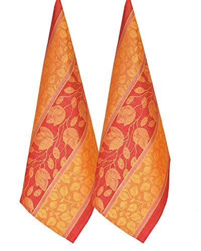 Armani International Foglio Design Orange-Gold Jacquard Kitchen / Tea Towel Set of 2 - 100% Linen Cotton Two-Ply Twisted - Made in - Designs Armani