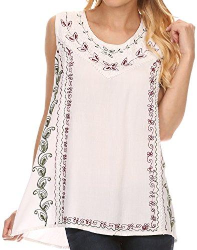 [Sakkas 121203 - Koonya Long Light Scoop Neck Nature Embroidered Sleeveless Tank Top Blouse - White - OS] (Embroidered Sleeveless Top)