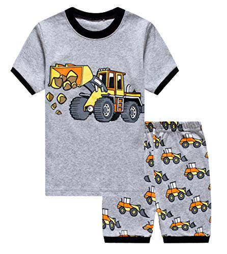 (GSVIBK Boy Pajamas Kids Cotton 2 Piece Sleepwear Short Sleeve Pajama Set Toddler Pajamas Truck Dinosaur 3-4Years N 092)