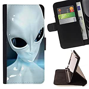 - Skull Devil Diablo Extraterrestrial - - Premium PU Leather Wallet Case with Card Slots, Cash Compartment and Detachable Wrist Strap FOR Samsung Galaxy S6 G9200 King case