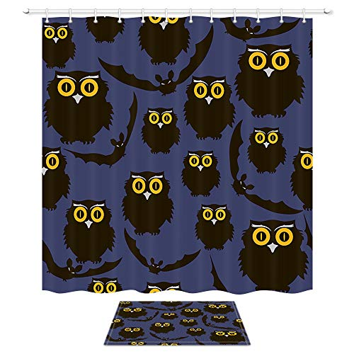 Vintage Halloween Shower Curtain, Gothic Halloween Animals with Owls and Bats for Trick or Treat Party, Mildew Resistant Waterproof Polyester Fabric Bath Curtain Set with Bathroom Bath -