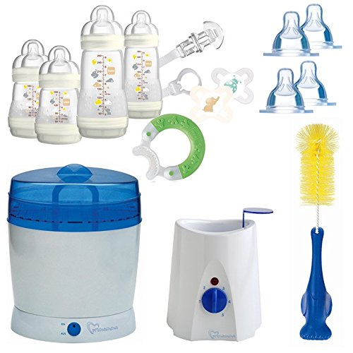 MAM All-In-One Starterset 23 tlg. Anti-Colic Flaschen Set Sterilisator Babykostwärmer (Ivory)