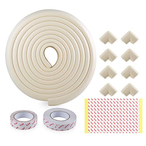 (Table Edge Protector, WEBI Baby Proofing Edge Corner Guards [16.4ft Edge+8Corners+2Tapes] Kids Child Safety Corner Guard Cushion Furniture Bumper for Desk Fireplace Hearth Counter Top,Beige)