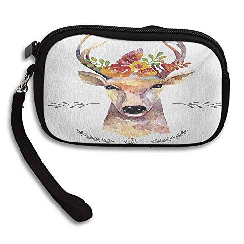 - Indie Clutchs Deer Portrait in Watercolor Painting Style Boho Flower Bouquet Hipster Rustic Artwork W 5.9