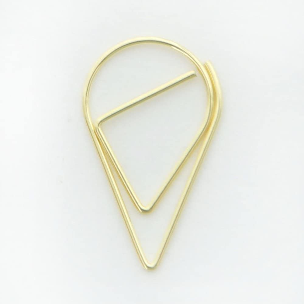 25mm, Black MultiBey Tear Drop Paper Clips Metal Triangular Triangle Cone Memo Bookmark Clips Black// Gold// Silver// Rose Gold// Pink// Green Lovely Office Supplies Decorations Pack of 100