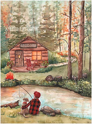 Boy Fishing With Dog, Rustic Log Cabin Woodland Nursery, Personalized Print OR Thick Wrapped Canvas, 5x7 to 24x36 ()