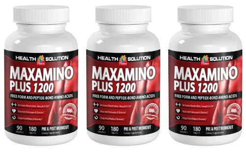 L tryptophan powder - MAXAMINO PLUS 1200 - help lose weight (3 Bottles) by Health Solution Prime