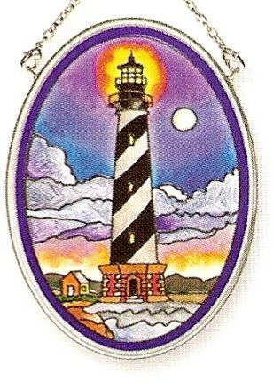 Amia Hand Painted Glass Suncatcher with Cape Hatteras Lighthouse Design, 3-1/4-Inch by 4-1/4-Inch Oval