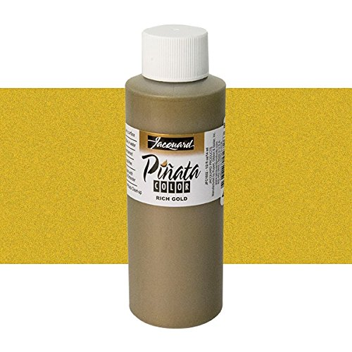 Pinata Rich Gold Alcohol Ink that by Jacquard, Professional and Versatile Ink that Produces Color-Saturated and Acid-Free Results, 4 Fluid Ounces, Made in the USA