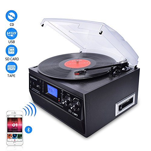 DIGITNOW!Bluetooth Viny Record Player Turntable,CD,Cassette,AM/FM Radio and Aux in with USB Port&SD Encoding,Built-in Stereo speaker,Stand Alone Music Player,Audio Built In Amplifier,Remote Control