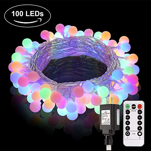 Globe String Lights, Room Lights Decor String with Remote Control, 100 LED Patio lights Outdoor Indoor for Waterproof Room Decor Party Patio Garden Wedding Decoration, 44 Ft, 8 Lighting Modes, Colored