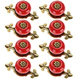 Corasays 2 IN 1 Vintage Ceramic Drawer Cabinet Knobs and Pulls for DIY Home Furniture Cabinet Dresser Cupboard Bin Door Handles, Pack of 8 (Red-Bronze)