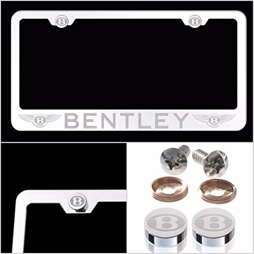 UFRAME Fit Bentley Laser Engraved License Plate Frame Made of Industrial Grade Mirror Finished Chrome Stainless Steel w/Caps and Accessories ()