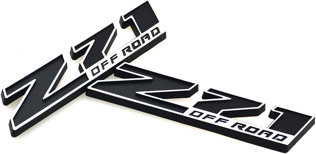 2 Pcs Small Size Z71 OFF ROAD Emblem 3D Badge Nameplate Replacement for GM Chevy Silverado Colorado Suburban GMC Sierra Tahoe White Black