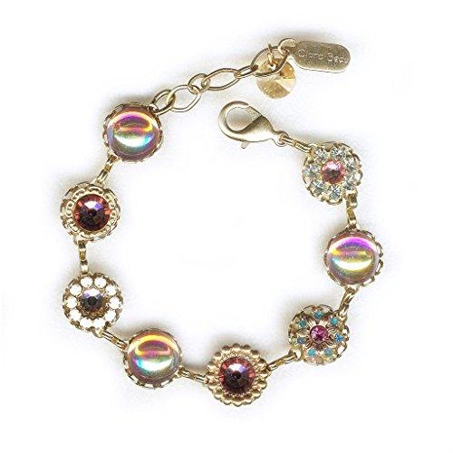 (Clara Beau Lovely Rosaline Swarovski crystal GoldTone Filigree Cluster Bracelet BF144)